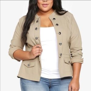 Torrid 2 Tan Open Front Button Military Jacket